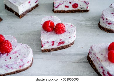 Raw Vegan Raspberry Coconut Cheesecake Bites, Selective Focus/ Close up/ Healthy Eating Concept