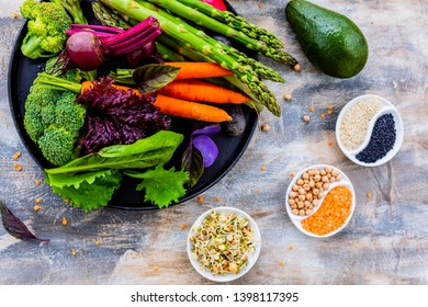 Raw vegetables and ingredients for the Buddha bowl. Healthy and balanced food.