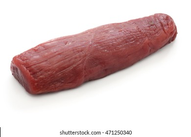 raw venison meat isolated on white background