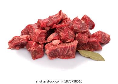 Roh-Waggyu-Rindfleisch-Gulasch weiß, Nahaufnahme