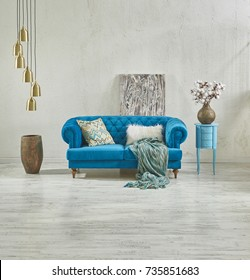 raw wall sofa decoration with natural parquet floor horizontal banner and gold lamp