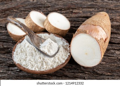 Raw yucca starch on the wooden table - Manihot esculenta..