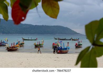 RAWAI BEACH, PHUKET ISLAND, THAILAND - FEBRUARY 28, 2016: long tailed boat at exotic Bay