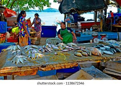 Rawai, Thailand - October 16, 2014: Fishmonger at Sea Gypsies Fish Market selling fresh fish behind her stall.