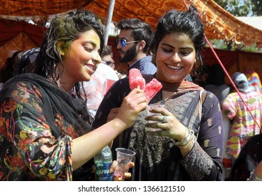 RAWALPINDI - PAKISTAN, APR 10: Students are enjoying on the occasion of Fun Fair of Medical College University held at college premise on  April 10, 2019 in Rawalpindi.