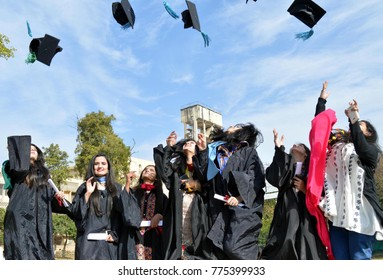 RAWALPINDI, PAKISTAN - DEC 14: Graduated students are jubilant during first convocation of Medical University on December 14, 2017 in Rawalpindi.