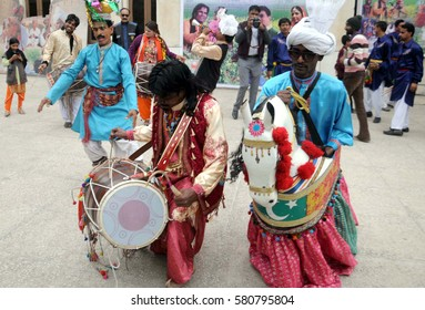 RAWALPINDI, PAKISTAN - FEB 16: Folk artists are performing during cultural festival  held at Arts Council on February 16, 2017 in Rawalpindi.