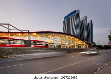 The Rawalpindi-Islamabad Metrobus is a 24 km (14.9 mi) bus rapid transit system that serves the twin cities of Rawalpindi and Islamabad in Pakistan.