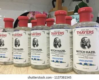 Rawang, Malaysia - July 17, 2018: Thayers alcohol-free Witch Hazel toner facial mist. It was founded by Henry Thayer M.D and established in 1947. A leader in healthcare remedies products industry.