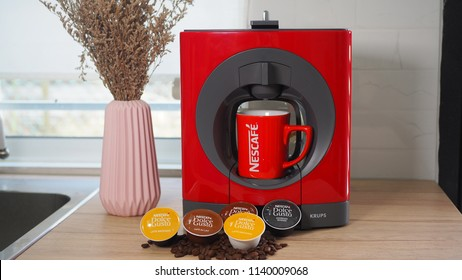 RAWANG, MALAYSIA - JUNE 23, 2018: Nescafe Dolce Gusto Coffee Pod System with a KRUPS coffee maker in the kitchen.
