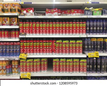 Rawang, Malaysia - October 2, 2018: Cand of Ridsect aerosol displayed on supermarket shelf. Ridsect is a pesticide product for Culex and Aedes mosquito.