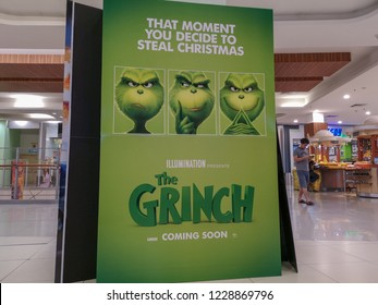 Rawang, Selangor, Malaysia, 13th November 2018 - A beautiful standee of a movie The Grinch displays at a movie theater