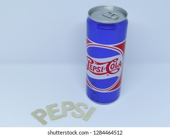 Rawang, Selangor, Malaysia, 15th January 2019 - Pepsi is a carbonated soft drink manufactured by PepsiCo. Limited edition of retro cans of Pepsi-Cola