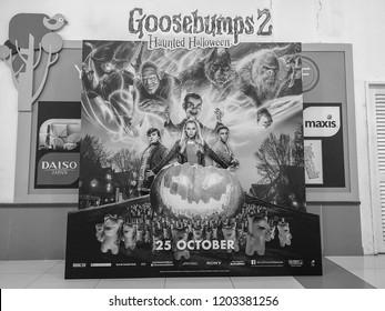 Rawang, Selangor, Malaysia, 15th October 2018 - Beautiful standee of a movie Goosebumps 2 Haunted Halloween display showing at the cinema