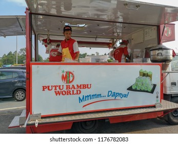 "Rawang, Selangor, Malaysia, 21st August 2018 - A food truck selling a delicious delicay that so popular in South East Asia especially Malaysia called ""Putu Bambu"" known in malay"