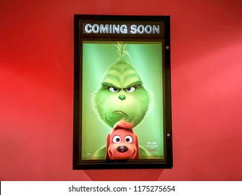 Rawang, Selangor, Malaysia, 25th August 2018 -Beautiful standee of a movie The Grinch display at cinema theater