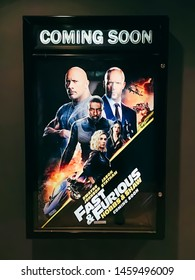 Rawang, Selangor, Malaysia, 25th July 2019 - A beautiful standee of a movie called Fast and Furious Hobbs and Shaw display at the cinema to promote the movie