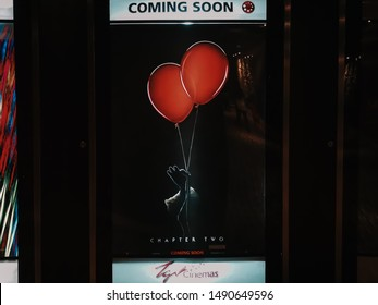 Rawang, Selangor, Malaysia, 29th August 2018 -Beautiful standee of a movie IT Chapter Two display at cinema theater