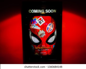 Rawang, Selangor, Malaysia, 4th December 2018 - A beautiful standee of a movie called  Spiderman Far from Home display at the cinema to promote the movie