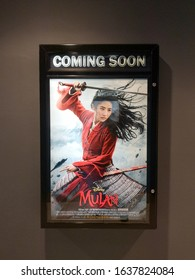 Rawang, Selangor, Malaysia, 7th February 2020 - Beautiful standee of a movie Mulan display at cinema theater