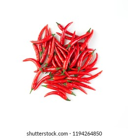 Rawit chilli peppers, other names: Cabe Rawit, Prik, Thai Chili, Child's Eye. Isolated on white background.