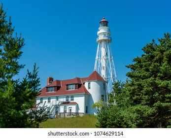 Rawley Point Light, a lighthouse located in Point Beach State Forest, Wisconsin. At 113 feet tall, it is the tallest lighthouse on the Great Lakes