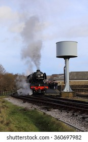 Rawtenstall, Lancashire, U.K. - January 10, 2016: Refurbished locomotive, The Flying Scotsman, on it inaugural weekend in service on the East Lancashire Railway on January 10, 2016.