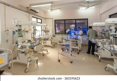 RAXAUL, INDIA - NOV 13: Neonatal intensive care unit of a local hospital on November 13, 2013 in Raxaul, Bihar, India. Bihar is one of the poorest states in India.