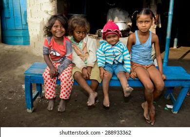 RAXAUL, INDIA - NOV 7: Unidentified Indian children on Nov 7, 2013 in Raxaul, Bihar state, India. Bihar is one of the poorest states in India. The per capita income is about 300 dollars.