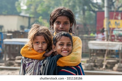 RAXAUL, INDIA - NOV 8: Unidentified Indian children on Nov 8, 2013 in Raxaul, Bihar state, India. Bihar is one of the poorest states in India. The per capita income is about 300 dollars.