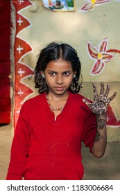 RAXAUL, INDIA: Unidentified Indian girl on the street , circa November, 2013 in Raxaul, Bihar, India.