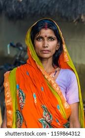RAXAUL, INDIA: Unidentified Indian woman on the street , circa November, 2013 in Raxaul, Bihar state, India.