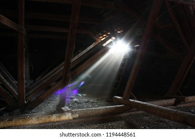 Ray of light in the dark attic of the abandoned manor