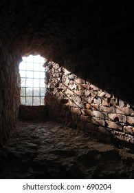 ray of light on the ancient wall