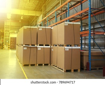 Rayong factory Thailand , December 27 - 2017 : material boxes on shelf in factory warehouse building keep for transport to customers in Thailand.