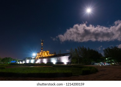 Rayong, TH - October 25 : Luang Prasae warship memorial, In the past was assigned to fight in the Korean Peninsula, Navy has decommissioned since 2000 at Paknam Prasae on October 25, 2018 in Rayong,TH
