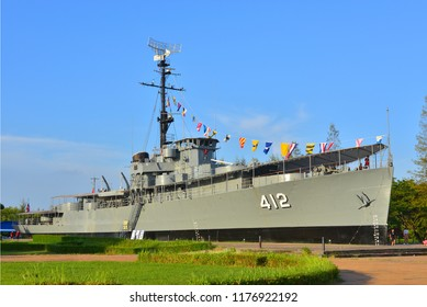Rayong, TH - September 2 : Luang Prasae battleship, In the past was assigned to fight in the Korean Peninsula, Navy has decommissioned since 2000 at Paknam Prasae on September 2, 2018 in Rayong, TH