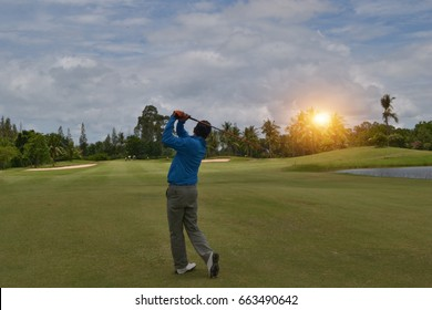 Rayong, THAILAND - 25 August 2012 : Golfer playing swing golf ball.