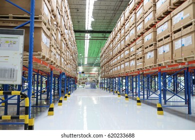 Rayong Thailand , April 13 - 2017 : Warehouse shelf in factory building for keep material and goods supply customer in Thailand