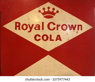 Rayong, Thailand - April 24th, 2018: Vintage marketing sign board for Royal Crown Cola (RC Cola), a soft drink developed in 1905 and now manufactured by Dr Pepper Snapple Group Cott Beverages