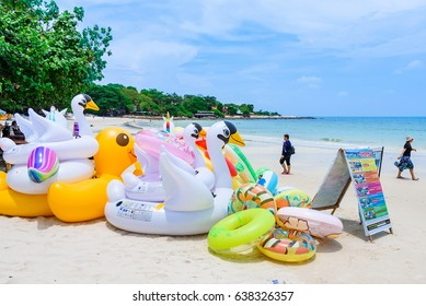 Rayong, Thailand - April, 28, 2017 : Animal figures swim tubes on the beach Inflatable animals.Fantasy Swim Rings for Summer sea Trip on the beach at the Koh Samet island, Rayong, Thailand