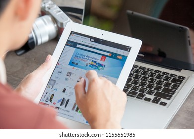 Rayong THAILAND - August 14, 2018: smartphone screen, lazada is online shopping in thailand, both on mobile and web base platform