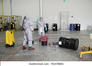 Rayong Thailand , August 23 - 2014 : Chemical spill work in factory and stop chemical leak.