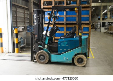 Rayong Thailand , August 31 - 2016 : Lift truck in factory warehouse use for movement material support production process at Thailand Rayong plant.