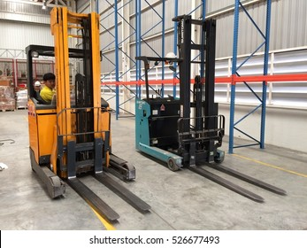 Rayong Thailand , December 01 - 2016 : lift truck in factory warehouse area for move material support customers