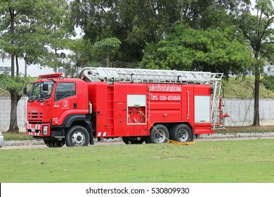 Rayong Thailand , December 06 - 2016 : Thai Red Fire truck for fire protection urgent in the city at Rayong Thailand
