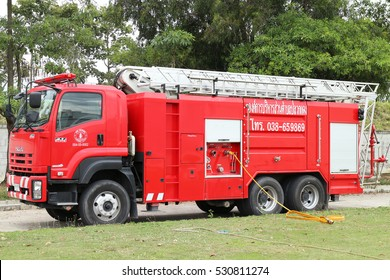 Rayong Thailand , December 06 - 2016 : Red fire truck in Thailand for fire protection in the city Thailand