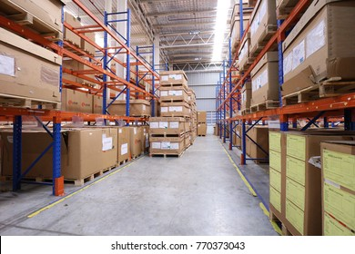 Rayong Thailand , December 07 - 2017 : Factory warehouse and wood pallet rack in Thailand.
