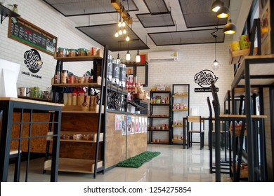 Rayong Thailand , December 10 - 2018 : Small coffee shop vintage style in Thailand Rayong for service customers.
