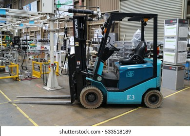 Rayong Thailand , December 11 - 2016  : lift truck in factory warehouse use for move and transportation material to customers in Thailand.
